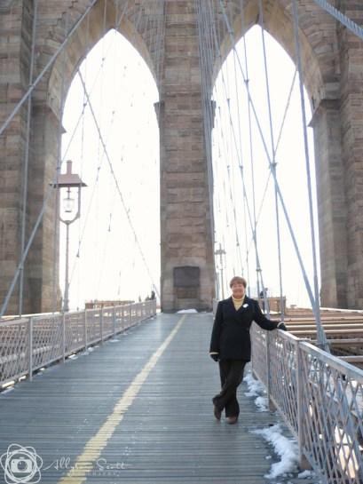 Mom on the Brooklyn Bridge