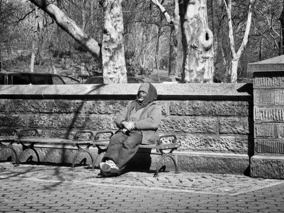 Man on bench near Central Park