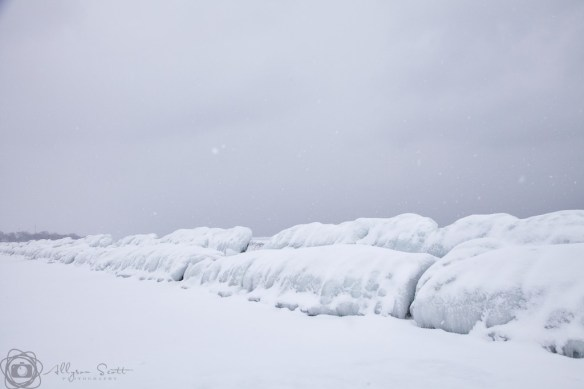 Frozen breakwater on Lake Ontario, Toronto