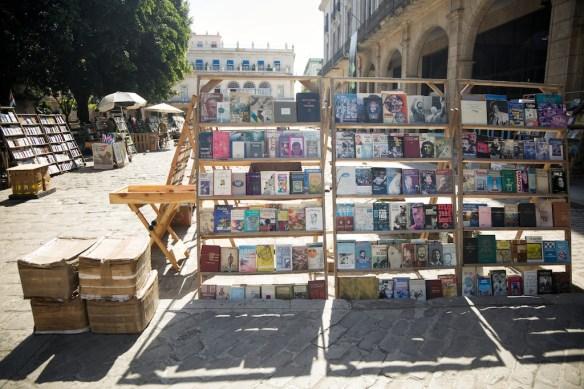 Book stalls in Plaza de Armas, Havana