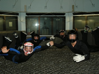 Alastair Macartney flies in a military wind tunnel with his team mates.