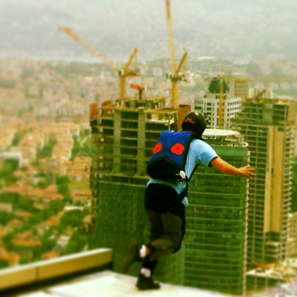 Alastair Macartney leaps from the Istanbul Sapphire Tower ias part of the ProBASE World Cup.
