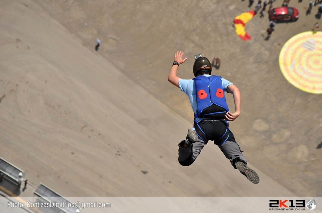 Alastair Macartney in freefall, getting ready to pull, at the Pro BASE World Cup in Istanbul, Turkey.