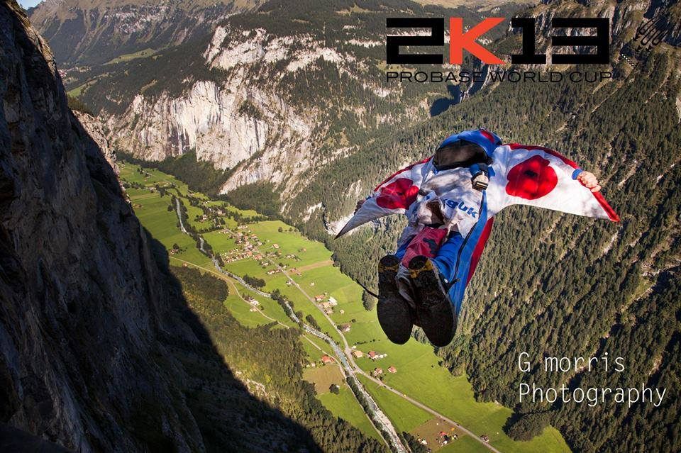 Exiting during the ProBASE World Cup.  Getting ready to fly hard and dive for the finish line in my Poppy wingsuit.  Photo by George Morris.