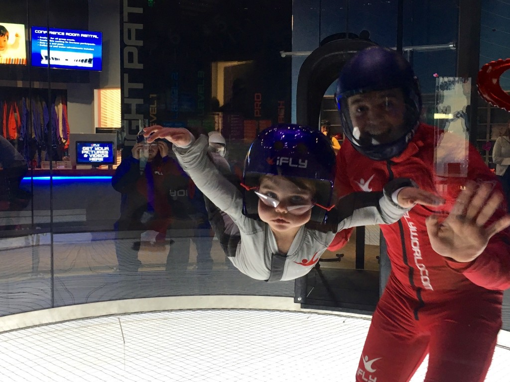 4 year old Kailey goes skydiving indoors at the wind tunnel at iFLY San Diego