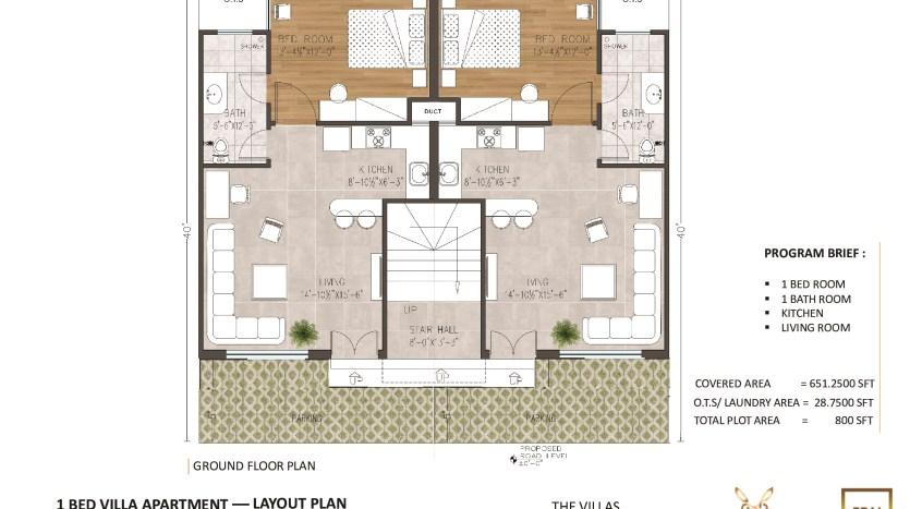 3.5 Marla Boutique villa apartment floor plan