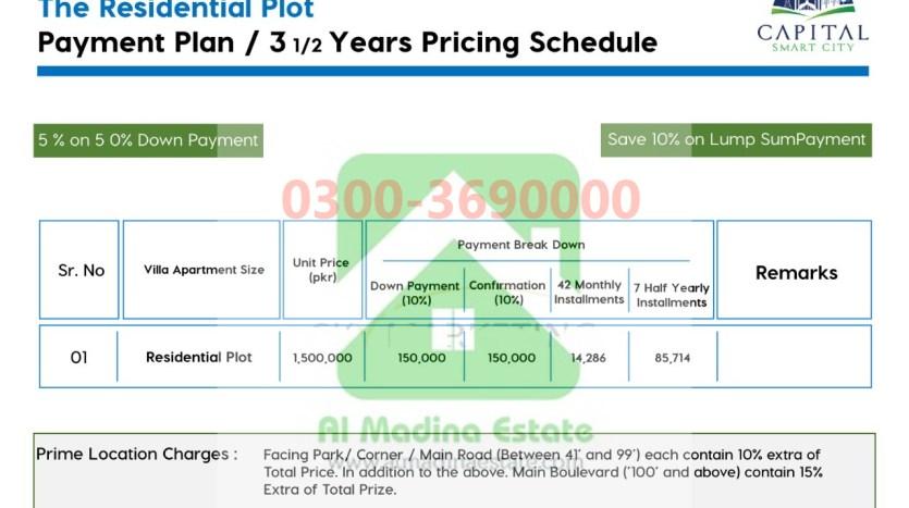 3.5 marla residential plot payment plan