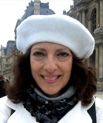Alma Head Shot, White Beret, Paris outside Louvre