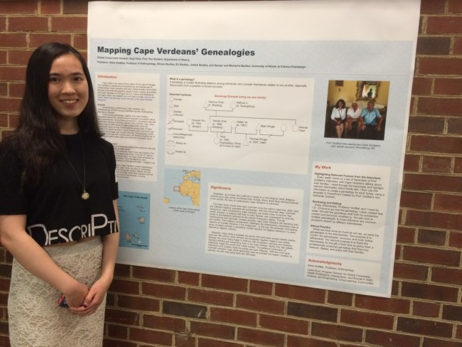 Huiyi Chen w Poster on CV Genealogies Project, Researchers Initiative Conference, 4-19-15