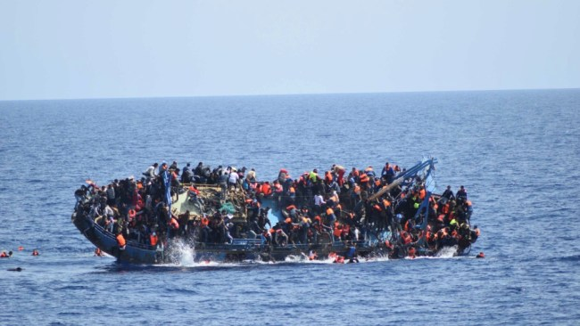 African Refugee in Over-crowded Boat in Mediterranean