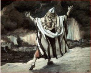 """""""Abraão vê Sodoma em chamas"""" por James Tissot, 1896-1902"""