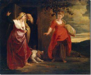"""""""Hagar deixa a casa de Abrão"""", por Peter Paul Rubens, 1615-1617"""