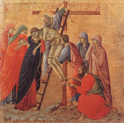 Some believe that Nicodemus was among those who removed the nails and took Jesus down from the cross; painting by Duccio di Buoninsegna