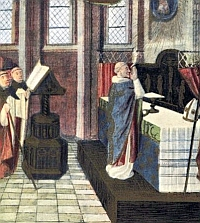 A medieval Mass being celebrated by a bishop