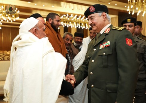 Field Marshal Khalifa Haftar, received yesterday at the headquarters of the LNA General Command in Al-Rajma, Benghazi, the chieftains and notables of the Asabaa tribes.