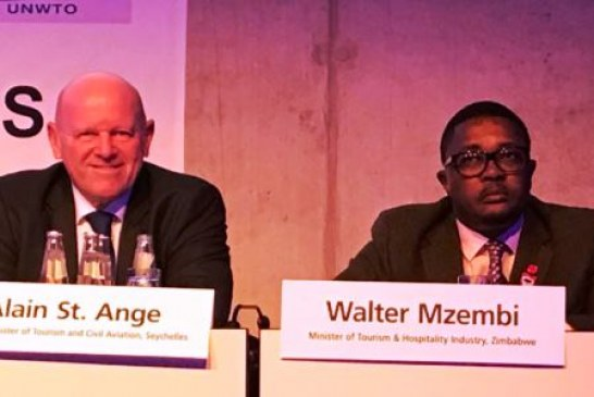 """Zimbabwe & Seychelles Candidates for UNWTO elections sit together on a panel """"Peace a vehicle for tourism"""" during ITB in Berlin"""