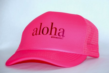 ALOHA Metallic Pink on Neon Pink hat