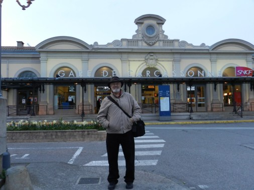 At Gare de Carcassonne for our first train trip!