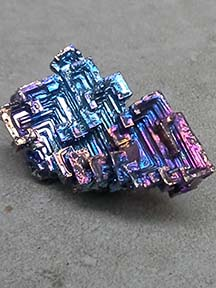 Bismuth crystal in purples and blues