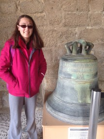 Etta with one of the original bells belonging to Holy Cross