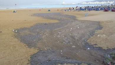 Photo of بعد الزيوت المسمومة مياه عادمة تلوث شاطئ أكادير