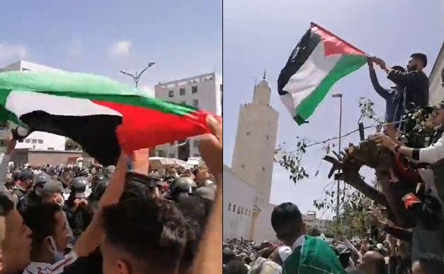 ساكنة الحي المحمدي بالدارالبيضاء تتظاهر تضامنا مع فلسطين واستنكارا للعدوان الإسرائيلي
