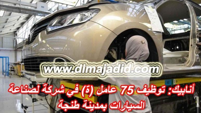 أنابيك: توظيف 75 عامل (ة) في شركة لصناعة السيارات بمدينة طنجة