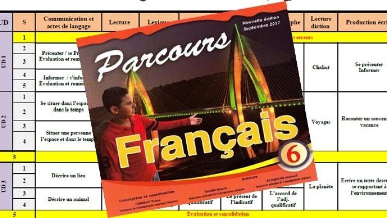 التوزيع السنوي لوحدة اللغة الفرنسية وفق مرجع Parcours خاص بالمستوى السادس ابتدائي