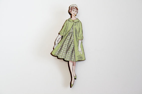 Vintage lady brooch