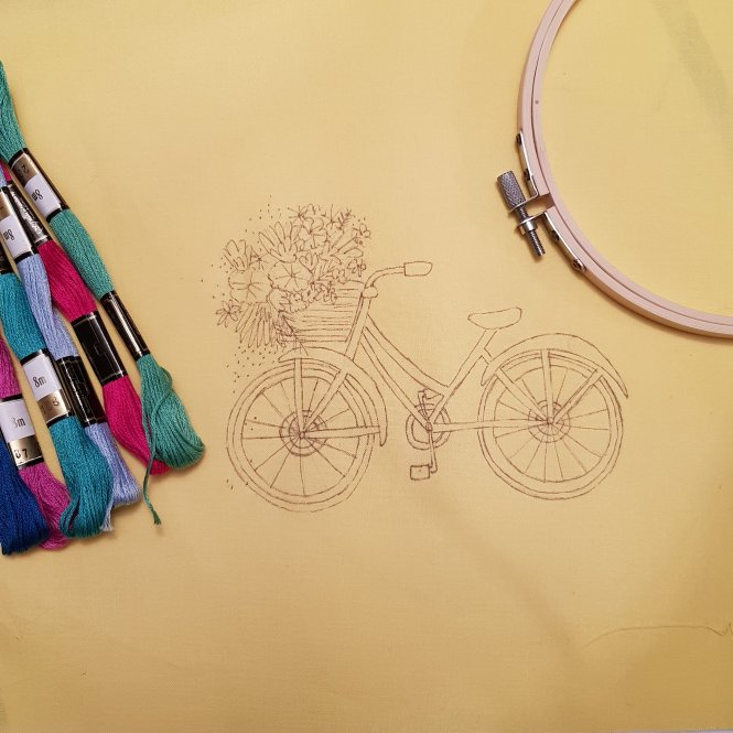 Almond rock embroidery hoop bicycle dmc anchor threads