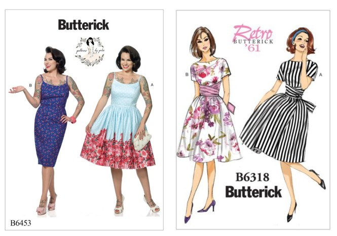 almond rock gertie b6418 b6453 butterick retro sewing patterns art gallery fabrics floral universe