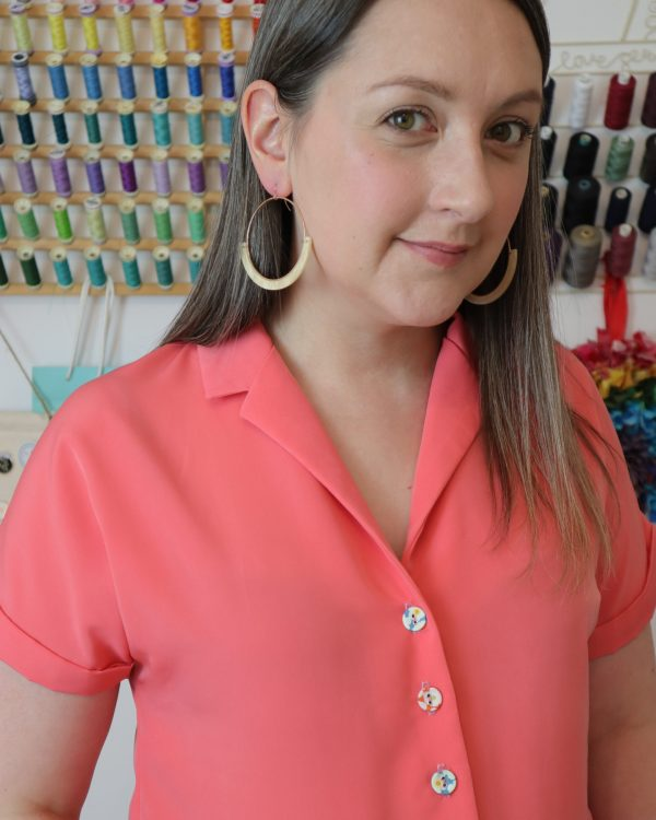 Almond rock coral peachskin Sew Over It Libby shirt blouse