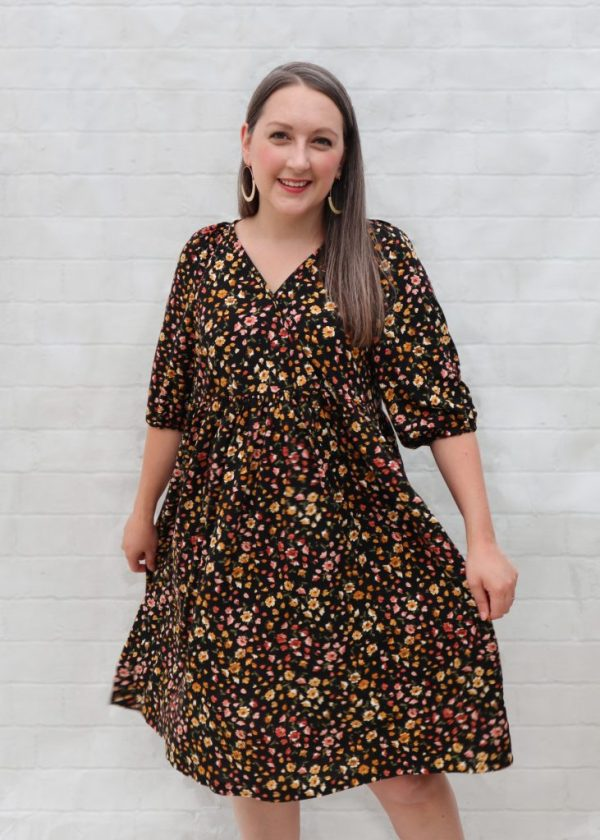 almond rock in an autumn floral print version of m7969 buffet dress surplice bodice with gathered skirt and elastic hem sleeves