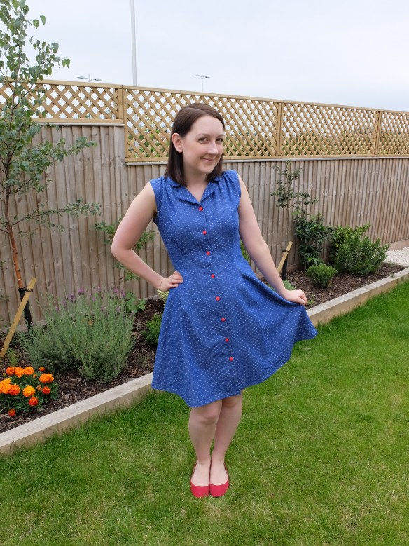 almond rock vintage shirtdress sew over it polka dot chambray