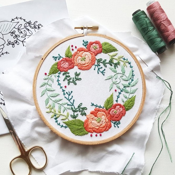 Almond rock wedding anniversary hoop namaste embroidery floss delicate roses