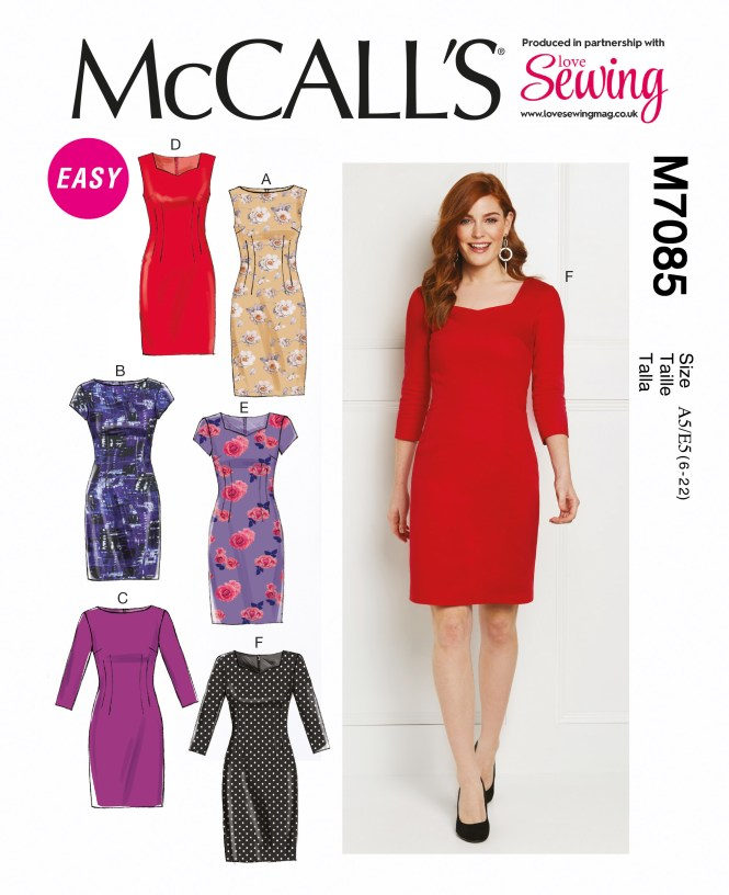 Almond rock M7085 McCall's pattern dress sewing polka dot retro vintage sateen minerva crafts