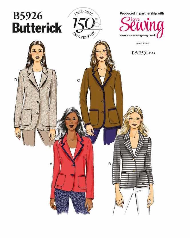 Almondrock blazer jacket scuba Butterick 5926