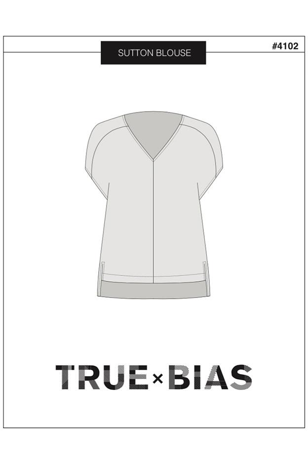 Almond rock swan print true bias Sutton blouse