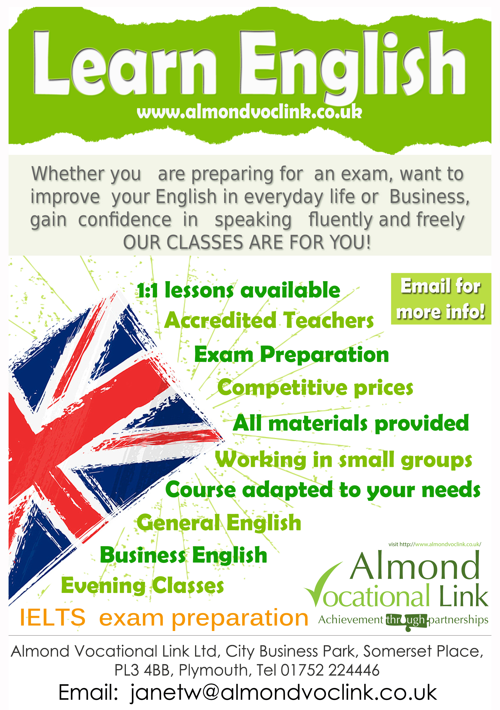 English Language Training Poster Almond Vocational Link Ltd