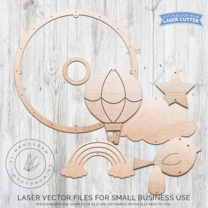 We love cute mobiles! This baby nursery mobile laser cut file is hot air balloon themed. You get full control over how big you want to make your hoop, and how many holes you want! Cut out your shapes and finish with paint or stain for a beautiful look to match your customer's baby nursery. Use fishing line to attach it all!