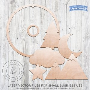 We love cute mobiles! This baby nursery mobile laser cut file is mountain themed. You get full control over how big you want to make your hoop, and how many holes you want! Cut out your shapes and finish with paint or stain for a beautiful look to match your customer's baby nursery. Use fishing line to attach it all!