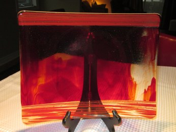 red amber tray on stand