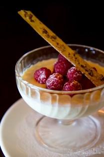 Pannacotta and raspberries