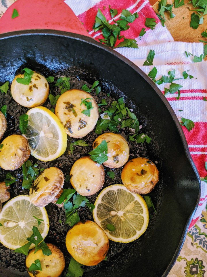 Lemon and Herb Butter Roasted Mushrooms