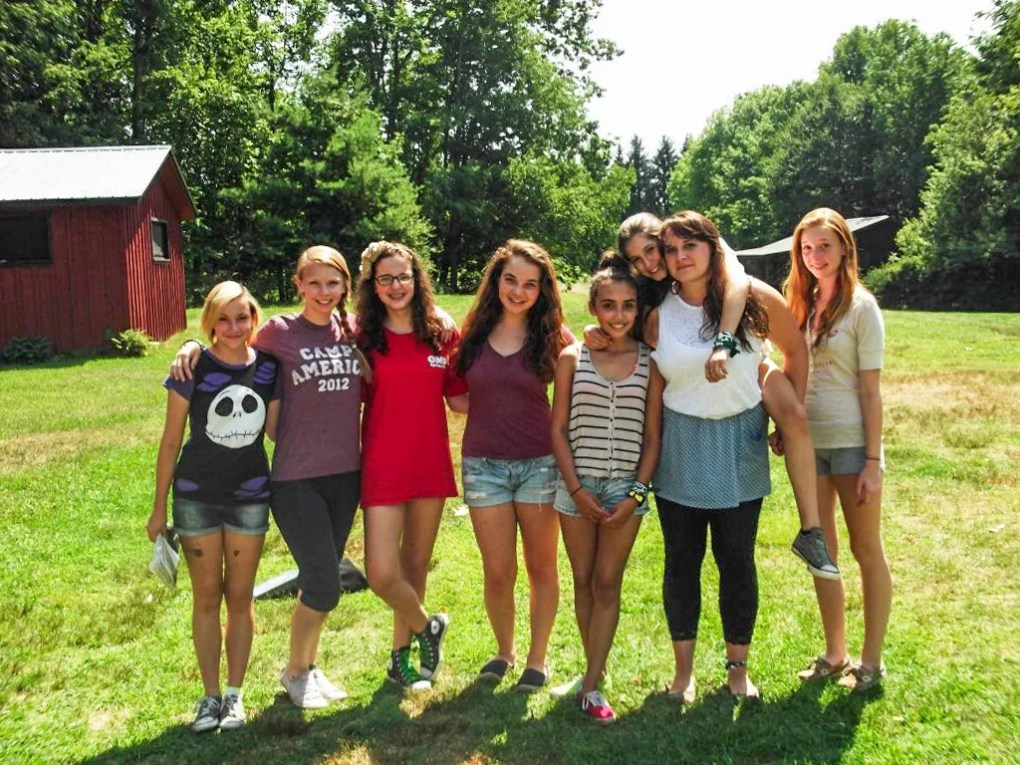 Camp counsellors and campers at Camp Ballibay Performing Arts Camp in Pennsylvania, USA