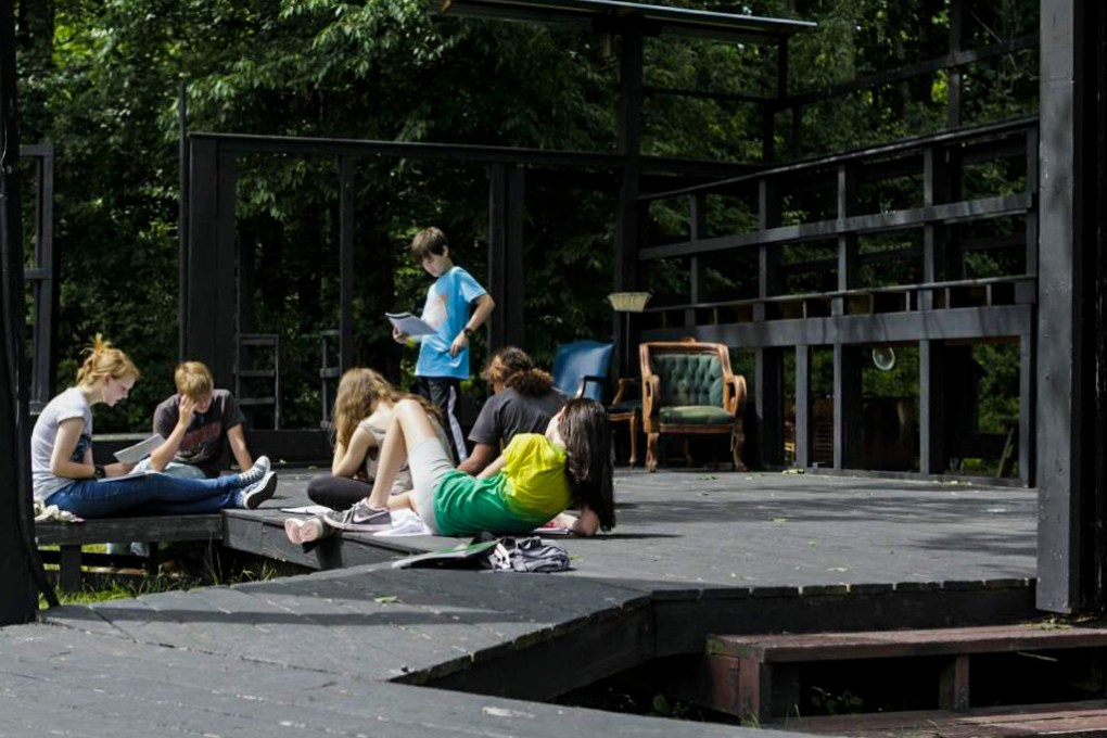 Rehearsals on the Outdoor Platform at Camp Ballibay Performing Arts Camp in Pennsylvania, USA