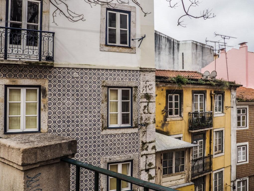Tiled houses in the Alfama neighbourhood in Lisbon, Portugal