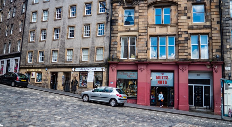 The Christmas Shop on West Bow and Grassmarket in Edinburgh which is a Trainspotting film location