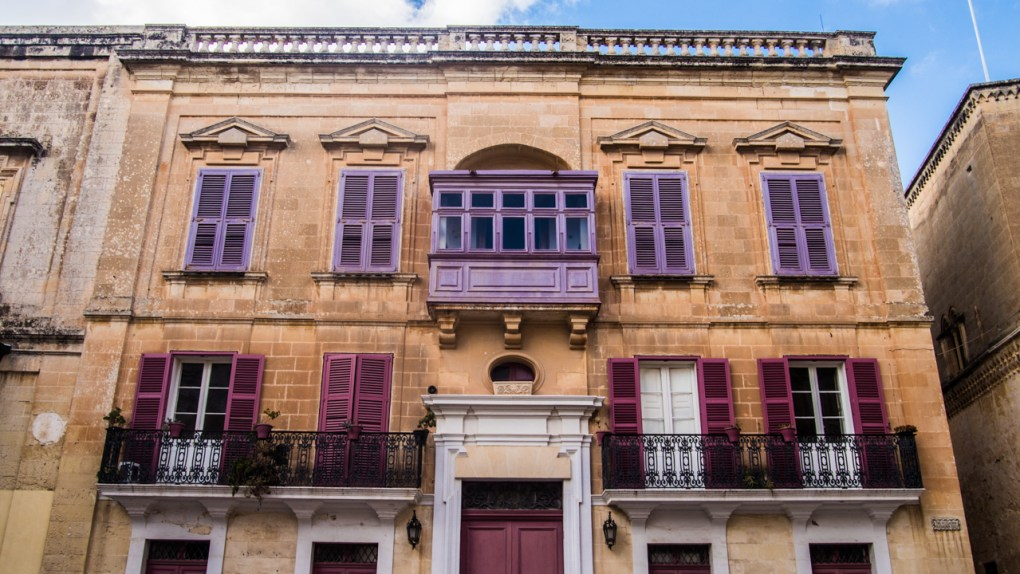 Purple and pink house in Mdina, Malta
