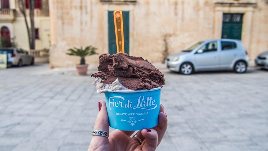 Fior di Latte ice cream in Mdina, Malta